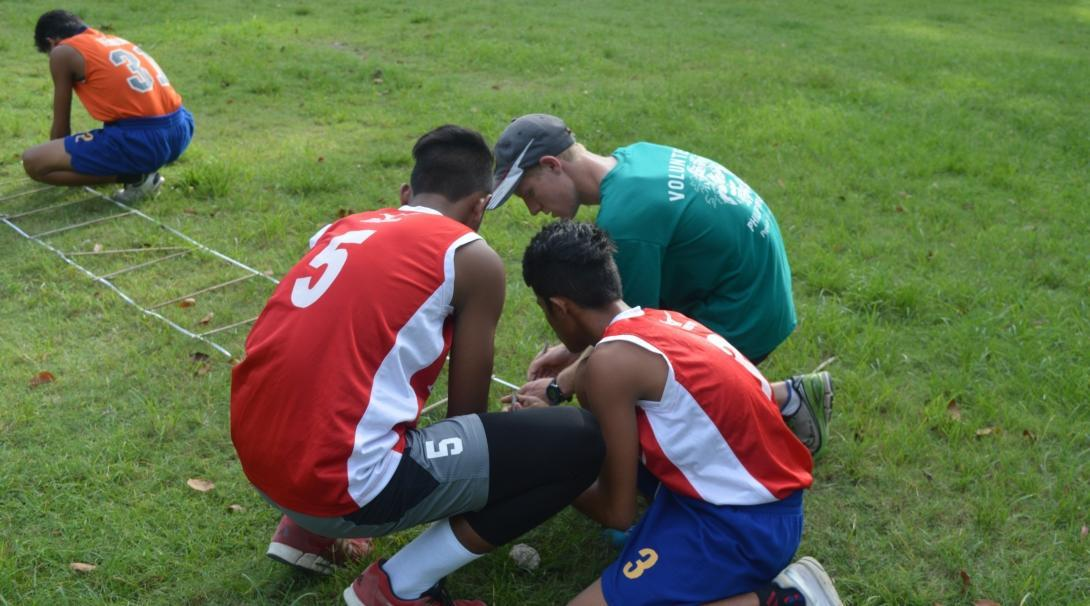 A football player volunteers with Projects Abroad as a sports coach in the Philippines